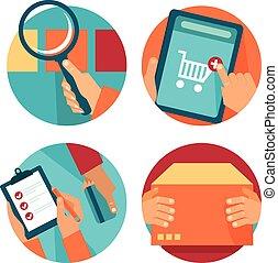 vetorial, internet fazendo compras, ícones, em, apartamento,...