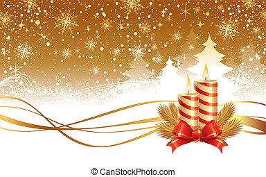 vetorial, inverno, -, ilustração, paisagem, agulhas, velas, natal, fita, vermelho