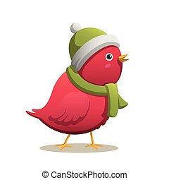 vetorial, inverno, pássaro