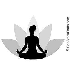 vetorial, ioga, ilustração