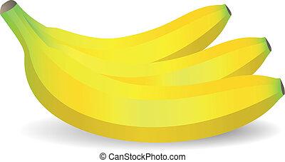 vetorial, isolado, bananas, branco, fundo