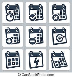 vetorial, isolado, calendário, ícones, jogo