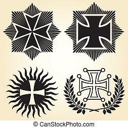 vetorial, isolado, cruzes