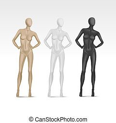 vetorial, isolado, femininas, mannequin