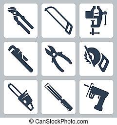 vetorial, isolado, ferramentas, ícones, jogo