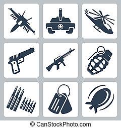 vetorial, isolado, guerra, ícones, jogo