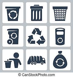 vetorial, isolado, lixo, ícones, jogo
