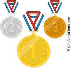 vetorial, isolado, medalhas, branco, fundo
