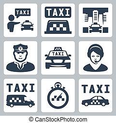 vetorial, isolado, táxi, ícones, jogo