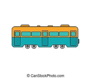 vetorial, isolated., car, ilustração, trem, ferrovia, transporte