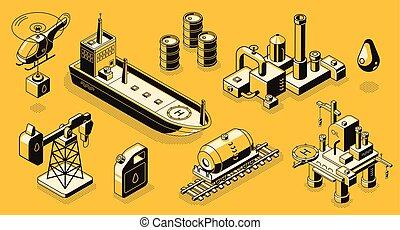 vetorial, isometric, óleo, objetos, ícones, indústria, jogo