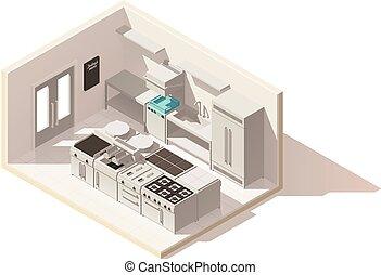 vetorial, isometric, baixo, poly, profissional, cozinha