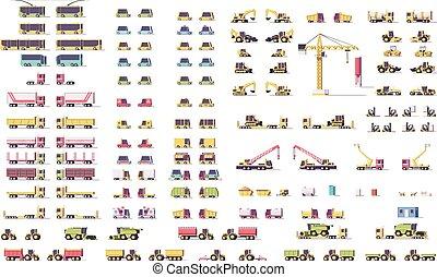 vetorial, isometric, baixo, poly, transporte, jogo