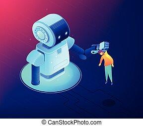 vetorial, isometric, conceito, illustration., human-robot, interação