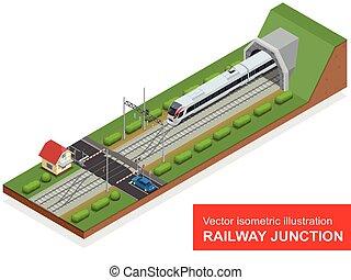 vetorial, isometric, ilustração, de, um, estrada ferro,...