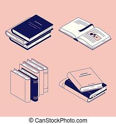 vetorial, isometric, jogo, -, isolado, ilustração, bookmarks., papel, livro, literatura, diário, fechado, abertos, ou