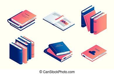 vetorial, isometric, jogo, -, isolado, ilustração, papel, livro, literatura, fechado, diary., abertos, ou