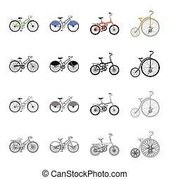 vetorial, isometric, jogo, tipos, recreação, ícones, símbolo, esboço, web., diferente, cobrança, bicicleta, sports., estilo, pretas, ilustração, veículo, monocromático, bicycles, caricatura, estoque