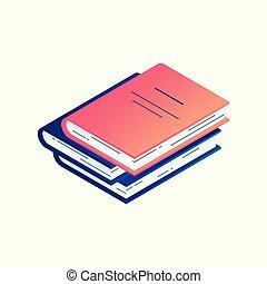 vetorial, isometric, literatura, hardcover., -, ilustração, pilha, livro, papel, diário, ou, mentindo