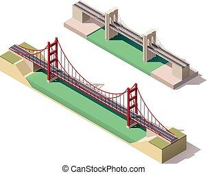 vetorial, isometric, ponte suspensão