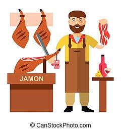 vetorial, jamon, açougueiro, shop., apartamento, estilo,...