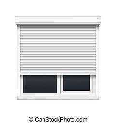 vetorial, janela, com, rolando, venezianas