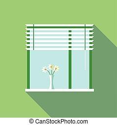 vetorial, janela, vaso, flores, digital