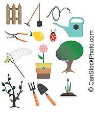 vetorial, jardim, cobrança, ícones