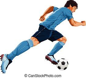 vetorial, jogador, futebol, action.