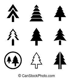 vetorial, jogo, árvore, pinho, ícones