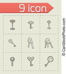 vetorial, jogo, ícone chave