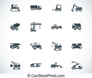 vetorial, jogo, ícones, construção, pretas, transporte