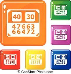 vetorial, jogo, ícones, cor, contagem, tábua, partida