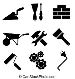 vetorial, jogo, ícones, isolado, fundo, construção, branca