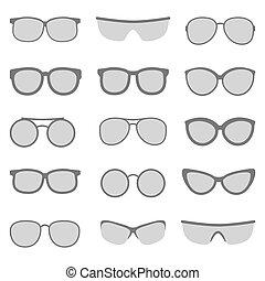 vetorial, jogo, óculos de sol, óculos