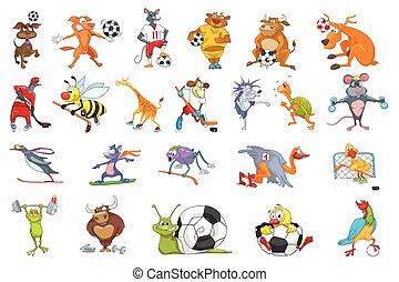 vetorial, jogo, animais, illustrations., desporto