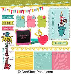 vetorial, jogo, -, aniversário, desenho, bebê, scrapbook, elementos