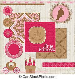 vetorial, jogo, -, aniversário, desenho, scrapbook, menina, princesa, elementos