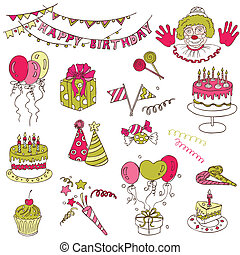 vetorial, jogo, -, aniversário, desenho, scrapbook, partido, elementos