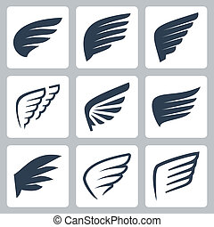 vetorial, jogo, asas, ícones