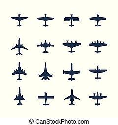 vetorial, jogo, aviões, ícone