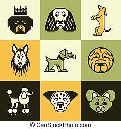 vetorial, jogo, cão, ícones