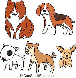 vetorial, jogo, cão