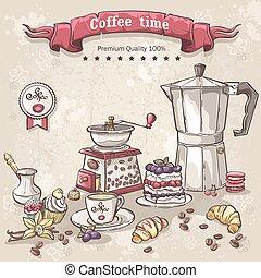 vetorial, jogo café, copo, variedade, pote, doces, turcos