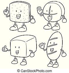 vetorial, jogo, caricatura, pão