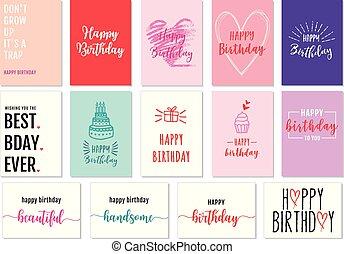 vetorial, jogo, cartões, aniversário
