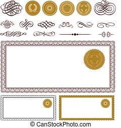 vetorial, jogo, certificado, em branco