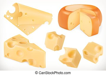 vetorial, jogo, cheese., 3d, ícone
