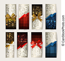 vetorial, jogo, coloridos, presente, arcos, ribbons., cartões