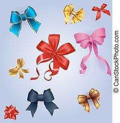 vetorial, jogo, coloridos, presente, arcos, ribbons., melhor, illustration.